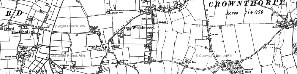 Old map of Wicklewood in 1882