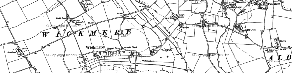 Old map of Wickmere in 1885