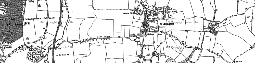 Old map of Widdington in 1896