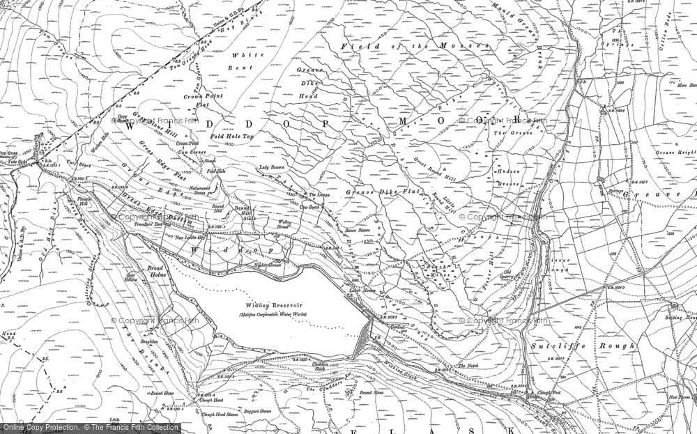 Old Map of Historic Map covering Alcomden Water in 1905