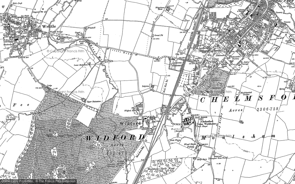 Old Map of Widford, 1895 in 1895