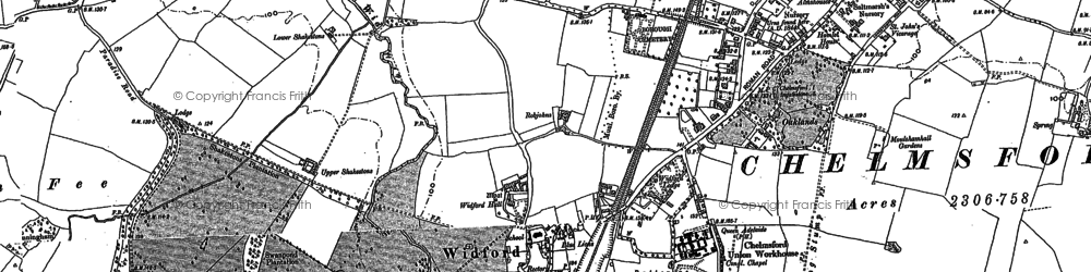 Old map of Widford in 1895