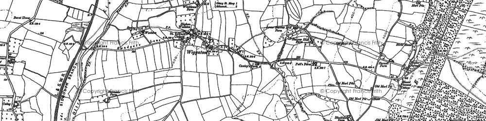 Old map of Wiggaton in 1888
