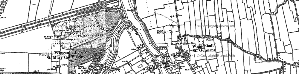 Old map of Wiggenhall St Germans in 1884