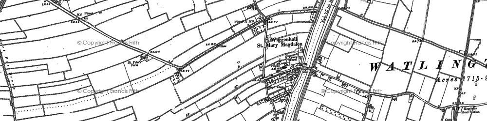 Old map of Wiggenhall St Mary Magdalen in 1884