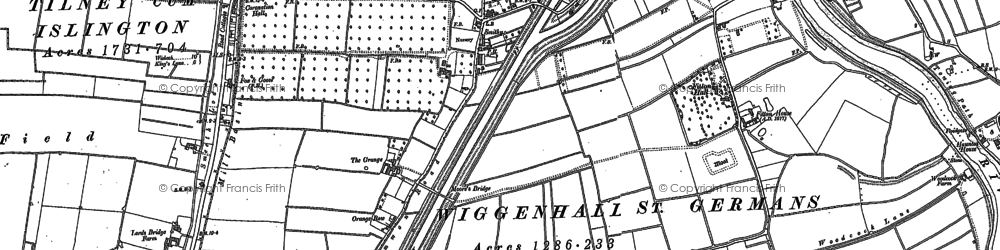 Old map of Wiggenhall St Mary the Virgin in 1884