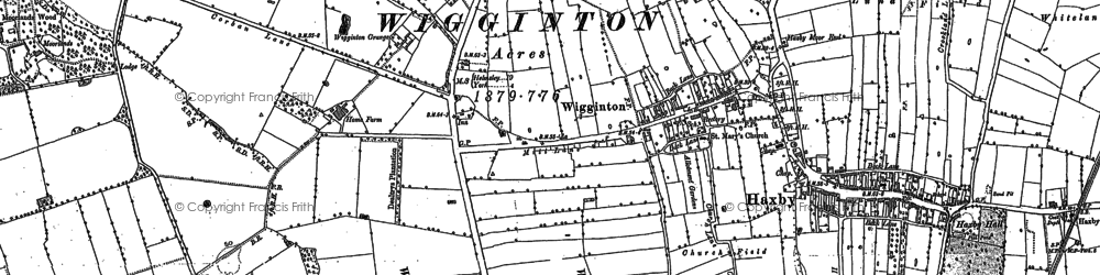 Old map of Wigginton Moor in 1891