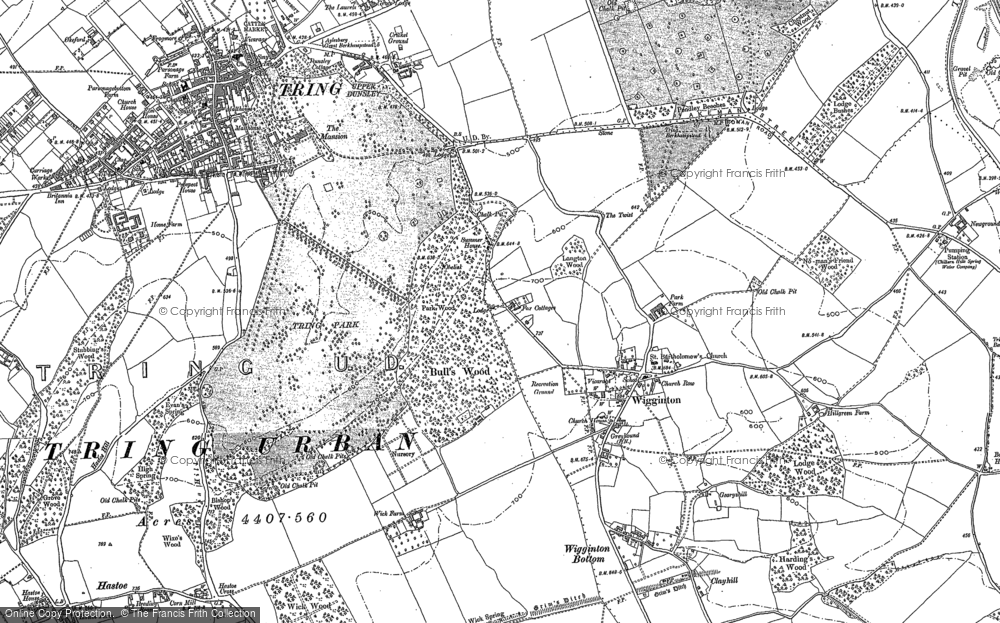 Old Map of Historic Map covering Wigginton Bottom in 1896