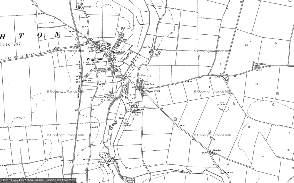 Old Map of Wighton, 1886 in 1886