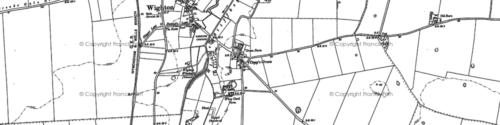 Old map of Wighton in 1886