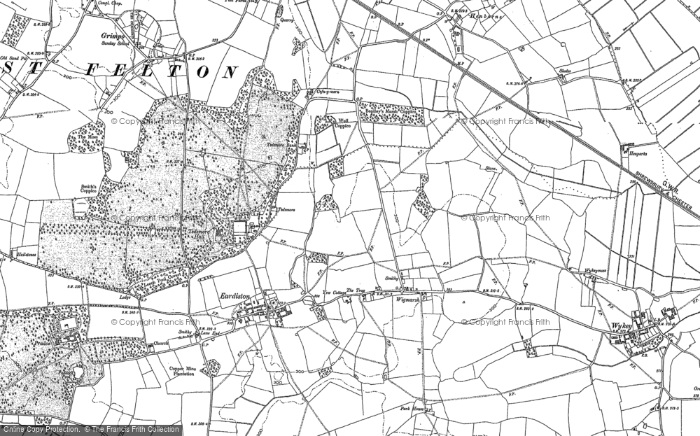 Old Map of Historic Map covering Wykeymoss in 1875