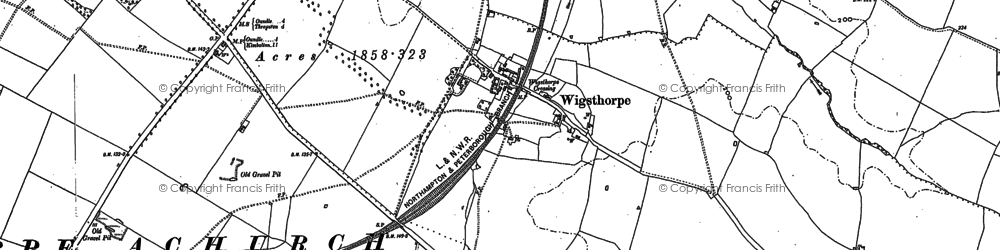 Old map of Wigsthorpe in 1885