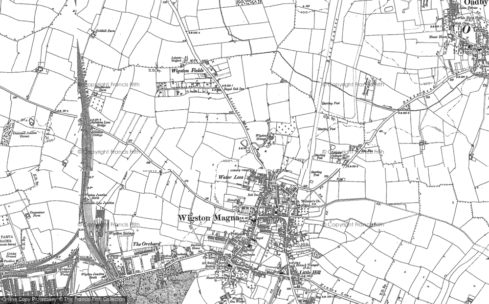 Map of Wigston, 1885