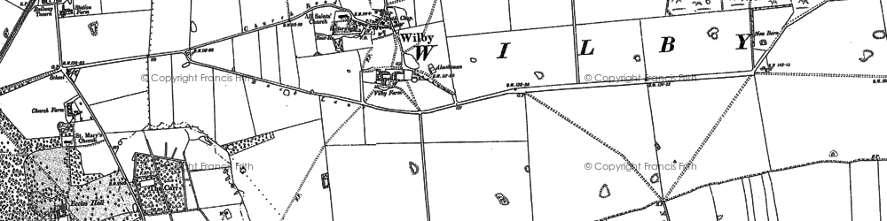 Old map of Wilby in 1882