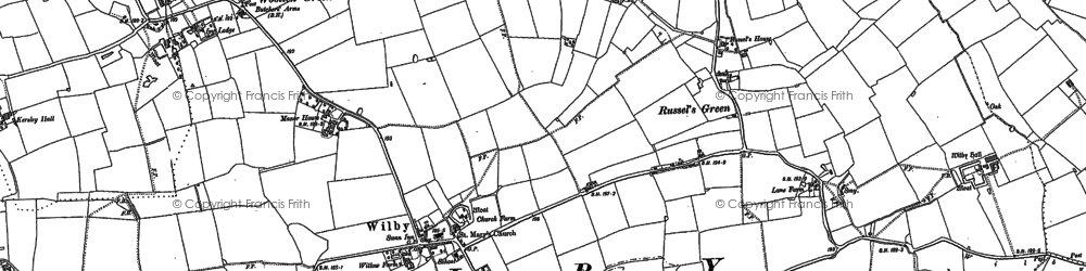 Old map of Wilby in 1884