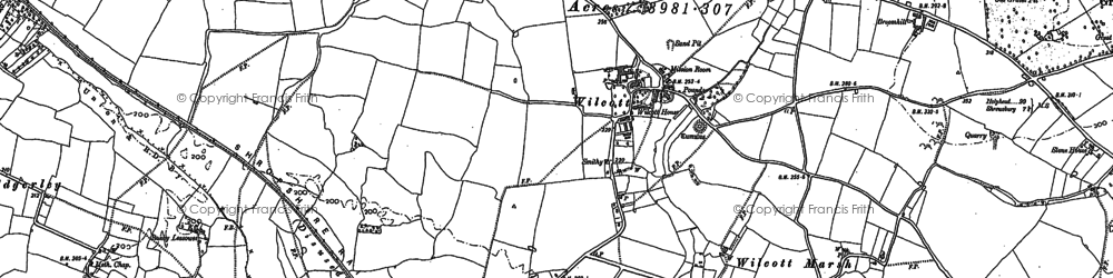 Old map of Wilcott in 1881