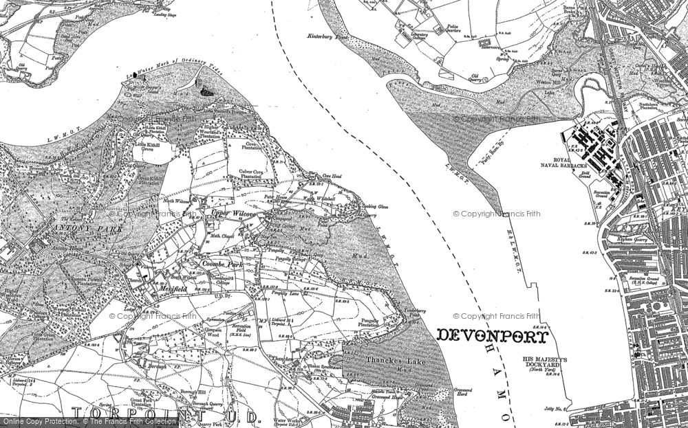 Old Map of Wilcove, 1883 - 1905 in 1883