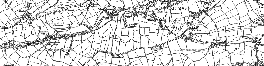 Old map of Moorhall in 1876