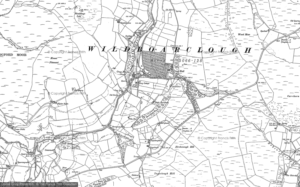 Old Map of Wildboarclough, 1907 in 1907