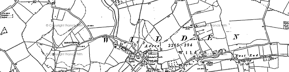 Old map of Wilden in 1882