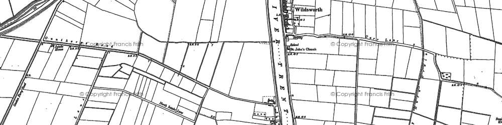 Old map of Wildsworth in 1885