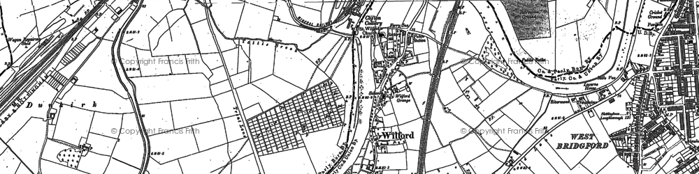 Old map of Wilford in 1881