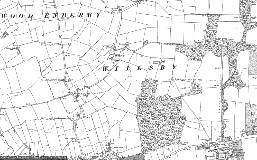 Old Map of Wilksby, 1887 in 1887