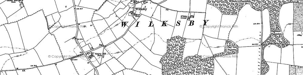 Old map of Wilksby in 1887