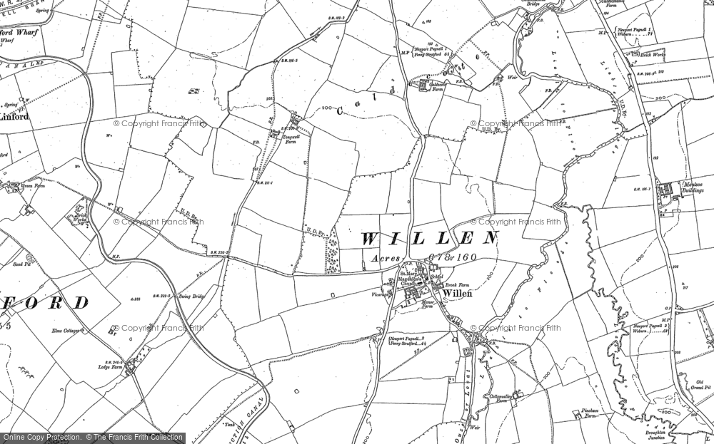 Old Map of Willen, 1924 in 1924