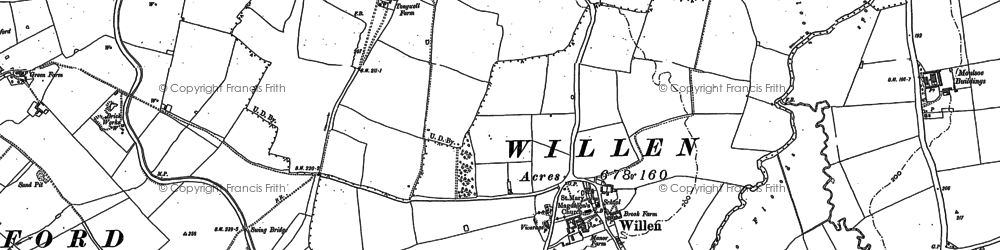 Old map of Willen in 1924