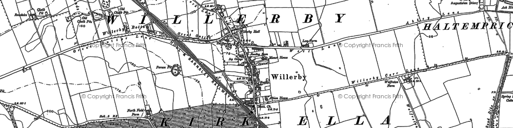 Old map of Willerby in 1888