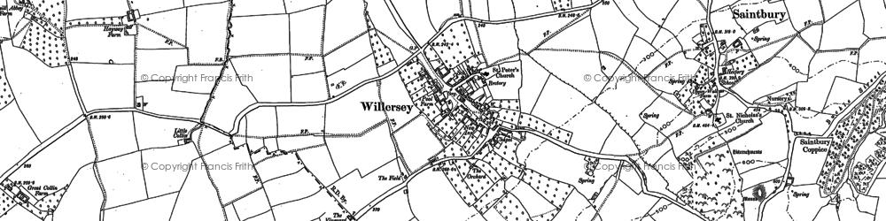 Old map of Willersey in 1880