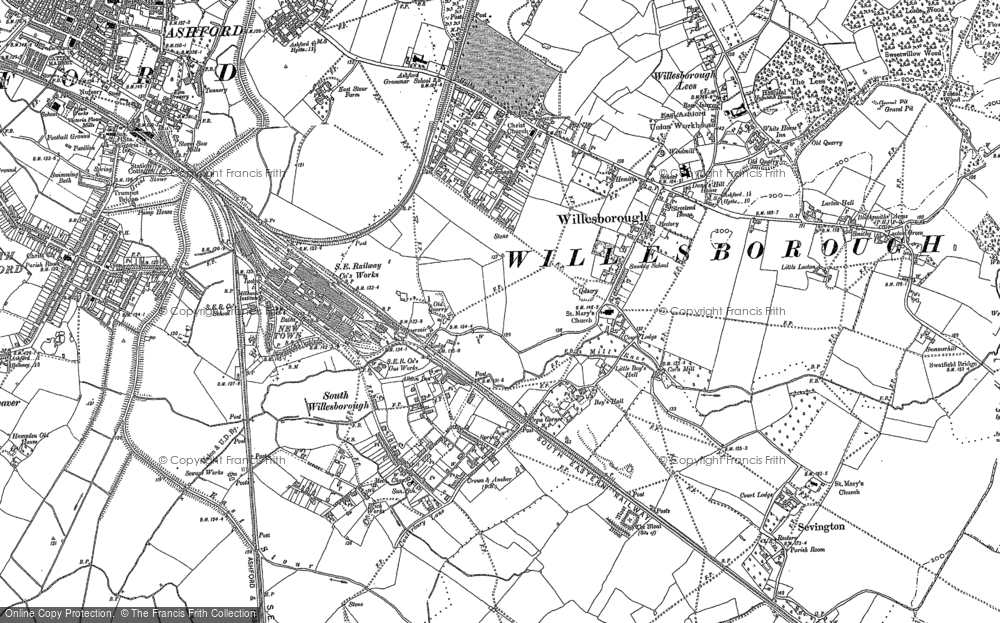 Old Map of Willesborough, 1896 in 1896