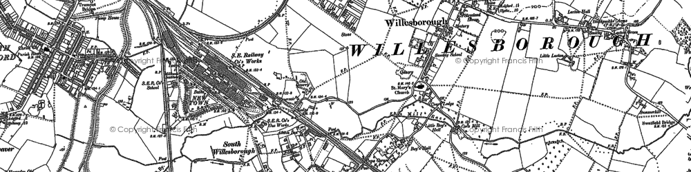 Old map of Willesborough in 1896
