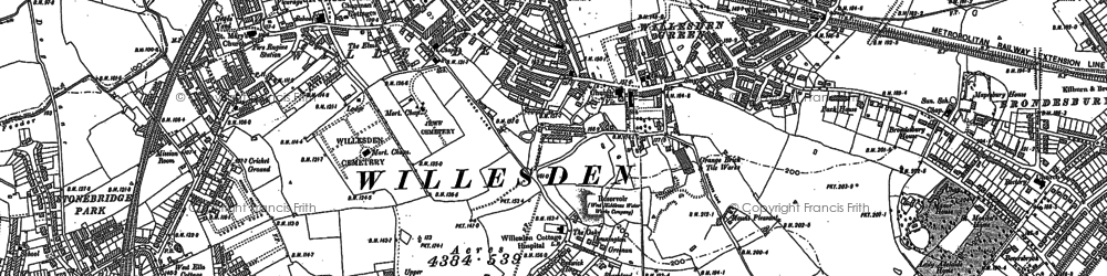 Old map of Willesden Green in 1894