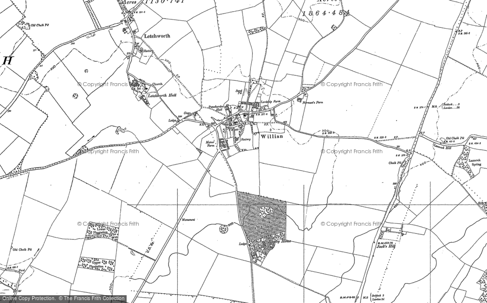 Old Map of Willian, 1896 - 1899 in 1896