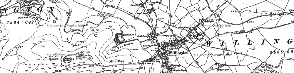 Old map of Willingdon in 1908