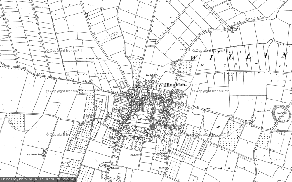 Old Map of Historic Map covering Cambridgeshire in 1887