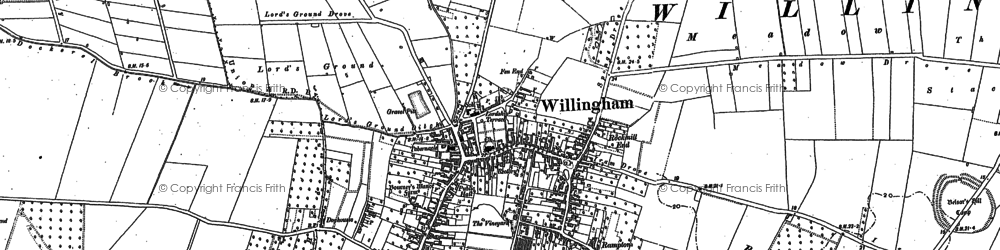 Old map of Willingham in 1887