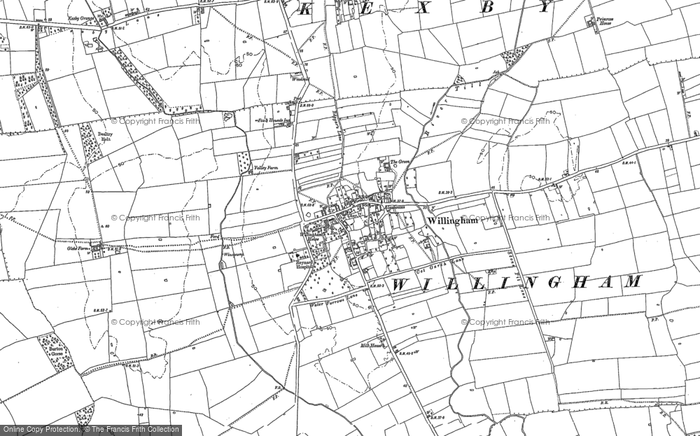 Old Map of Willingham by Stow, 1885 in 1885