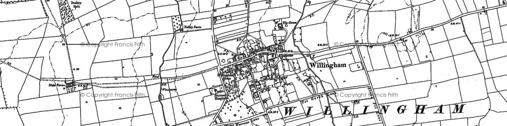 Old map of Willingham by Stow in 1885