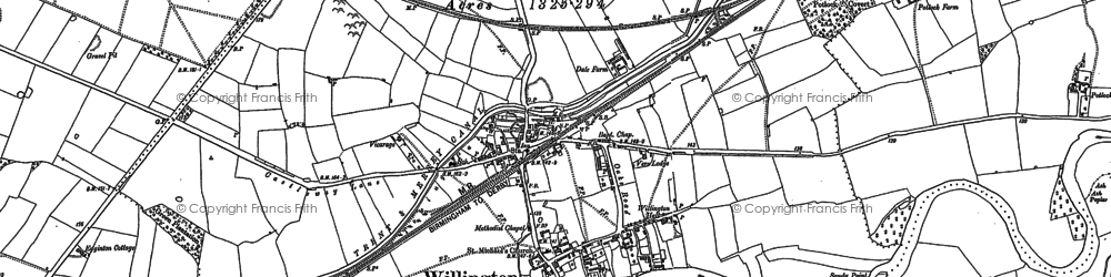 Old map of Willington in 1881