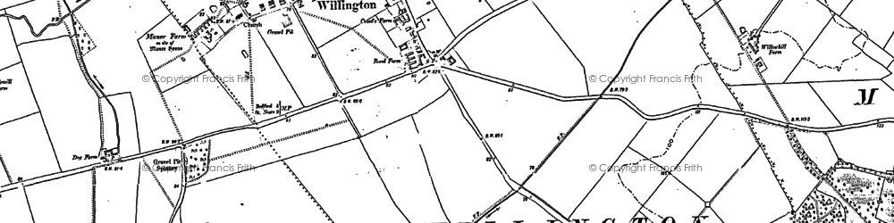 Old map of Willington in 1882