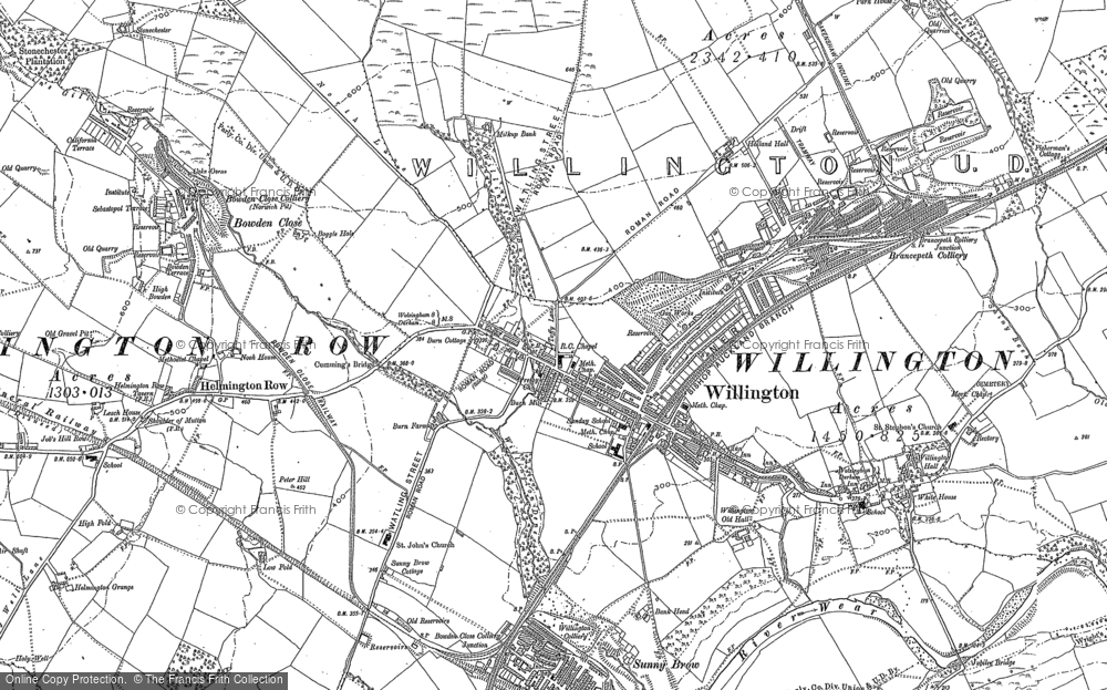 Old Map of Willington, 1896 in 1896