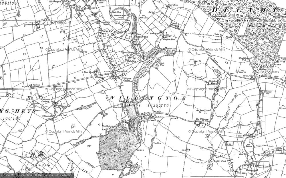 Old Map of Willington Corner, 1897 in 1897