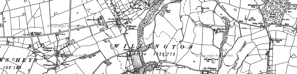 Old map of Willington Corner in 1897