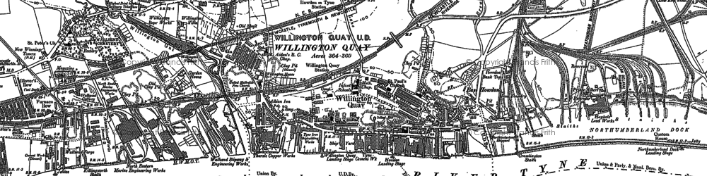 Old map of Willington Quay in 1895