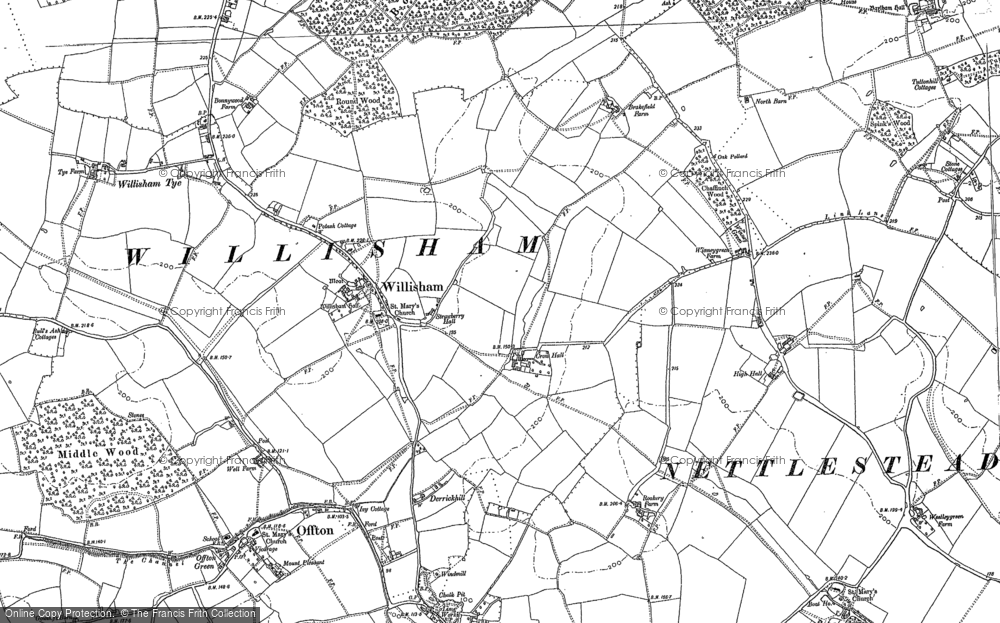 Old Map of Historic Map covering Willisham Tye in 1884