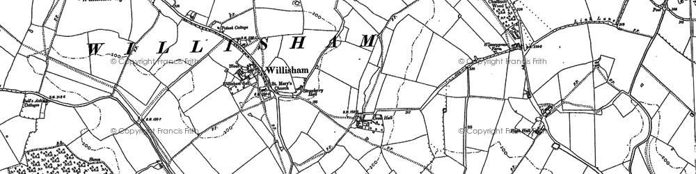 Old map of Willisham in 1884