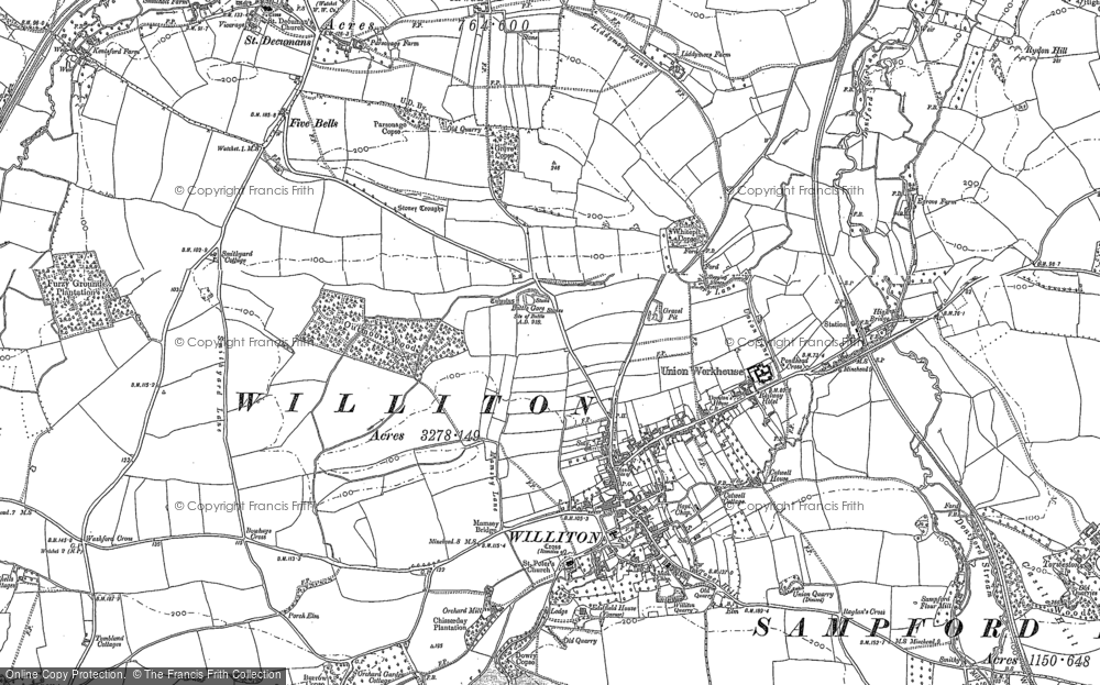 Old Map of Williton, 1887 - 1902 in 1887